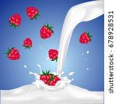 red raspberry fruits falling... | Shutterstock .eps vector #678928531