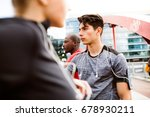 young runners in the city... | Shutterstock . vector #678930211