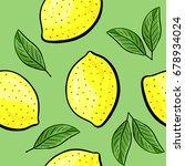 seamless hand drawn lemon...   Shutterstock . vector #678934024