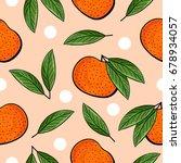 seamless hand drawn tangerine... | Shutterstock . vector #678934057