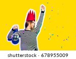 party girl in colorful... | Shutterstock . vector #678955009