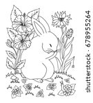 Stock vector vector illustration zentangl rabbit in a clearing among the flowers coloring book anti stress 678955264