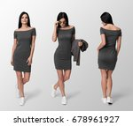 young sexy woman in slim short... | Shutterstock . vector #678961927