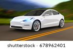 electric car 3d rendering | Shutterstock . vector #678962401