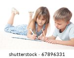 two 6 year old kids drawing on... | Shutterstock . vector #67896331