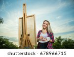 a woman artist with a brush and ... | Shutterstock . vector #678966715