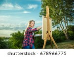 a woman artist with a brush and ... | Shutterstock . vector #678966775
