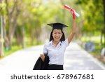 educational theme.happy woman... | Shutterstock . vector #678967681
