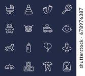 set of 16 child outline icons... | Shutterstock .eps vector #678976387