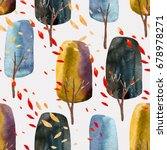 abstract autumn trees with...   Shutterstock . vector #678978271