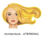 head of a pretty blonde girl... | Shutterstock .eps vector #678980461