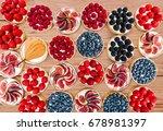 fruit and berry tarts dessert... | Shutterstock . vector #678981397