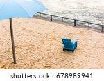 Aerial Closeup Of Blue Beach...