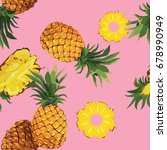 seamless pineapple pattern | Shutterstock .eps vector #678990949