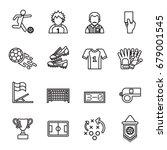 football  soccer icon. line... | Shutterstock .eps vector #679001545