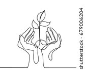continuous line drawing. hands... | Shutterstock .eps vector #679006204