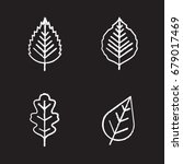 Leaves Chalk Icons Set. Poplar...