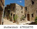 narrow street in the medieval...   Shutterstock . vector #679018795