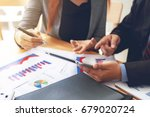 business people a meeting in... | Shutterstock . vector #679020724