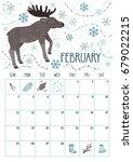 vector monthly calendar with... | Shutterstock .eps vector #679022215