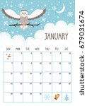 vector monthly calendar with... | Shutterstock .eps vector #679031674