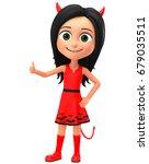 devil girl shows thumbs up on a ... | Shutterstock . vector #679035511