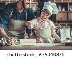 cute little girl and her... | Shutterstock . vector #679040875