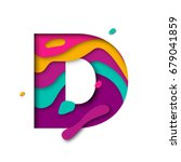 paper cut letter d. realistic... | Shutterstock .eps vector #679041859