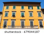old orange building with long...   Shutterstock . vector #679044187