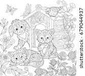 coloring page of puppy  cat ... | Shutterstock .eps vector #679044937