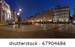 Night panorama of the old town of Gdansk, Poland. - stock photo