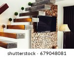 staircase and tv in luxury... | Shutterstock . vector #679048081