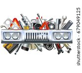 vector front car part with... | Shutterstock .eps vector #679049125