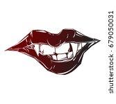 sexy vampire lips.pop art style | Shutterstock .eps vector #679050031