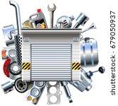 vector car parts with garage   Shutterstock .eps vector #679050937