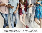young friends and technology... | Shutterstock . vector #679062301