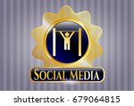 gold badge or emblem with pull ... | Shutterstock .eps vector #679064815