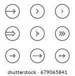 round thin arrow vector icon set   Shutterstock .eps vector #679065841