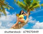 young beautiful girl in bikini... | Shutterstock . vector #679070449