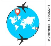 around the world travelling by... | Shutterstock . vector #679082245