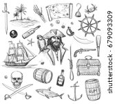 collection of pirates  sea... | Shutterstock .eps vector #679093309