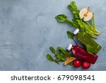 fruit and vegetables smoothie... | Shutterstock . vector #679098541