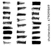 set of vector black paint brush ... | Shutterstock .eps vector #679099849