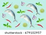 top view of raw mackerel fish... | Shutterstock . vector #679102957