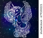 beautiful unicorn with wings... | Shutterstock .eps vector #679103221