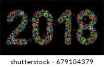 happy new year 2018 with... | Shutterstock .eps vector #679104379