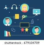 blended learning education... | Shutterstock .eps vector #679104709