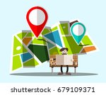 navigation map with pins and... | Shutterstock .eps vector #679109371