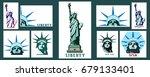set. statue of liberty usa.... | Shutterstock .eps vector #679133401