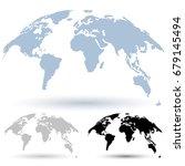 3d globe map isolated on white... | Shutterstock .eps vector #679145494